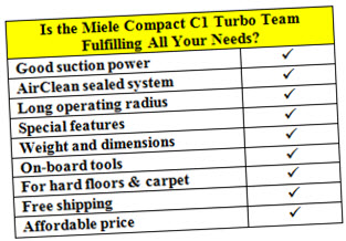 choose Miele copact C1 turbo team