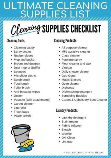 Cleaning supplies list for house